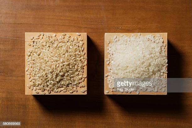 brown rice and white rice - arroz integral - fotografias e filmes do acervo