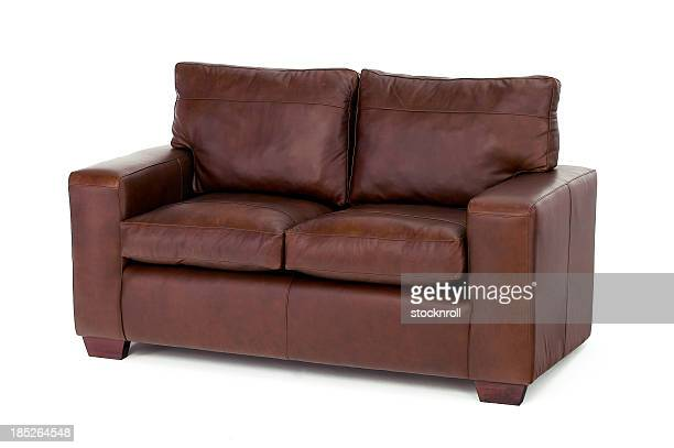 Brown settee isolated on white