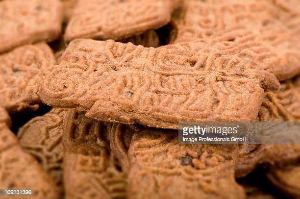Brown spekulatius cookies, full frame, close-up