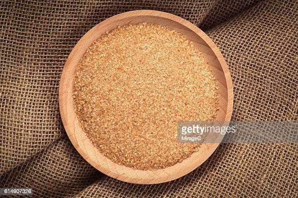 Brown Sugar in Wooden Tray, Linen Material