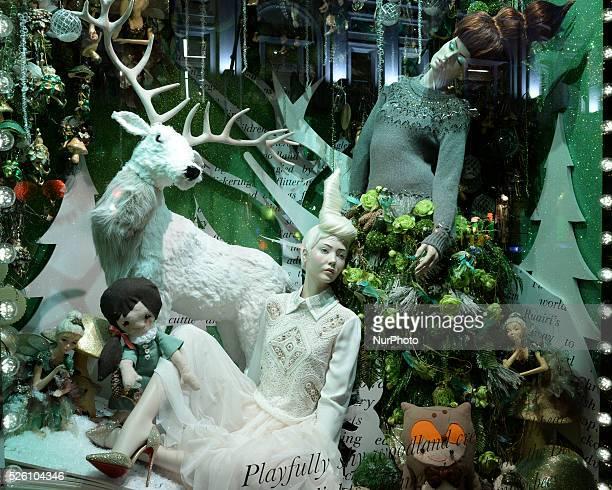 Brown Thomas store window decorations with a Christmas theme, in Grafton Street, Dublin. Dublin, Ireland, on 22 November 2015.