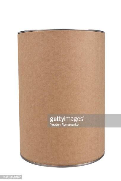 brown tin can, isolated on white background - cylinder stock pictures, royalty-free photos & images