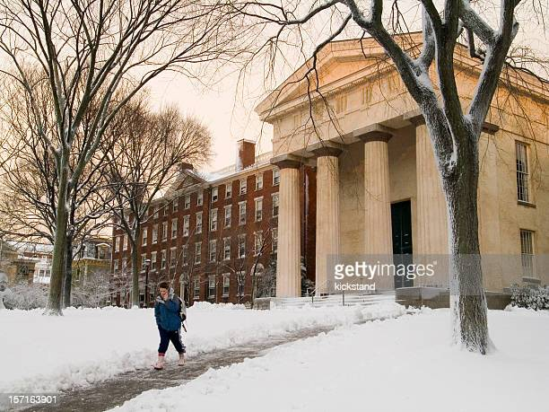 brown university after a snowstorm - brown university stock pictures, royalty-free photos & images