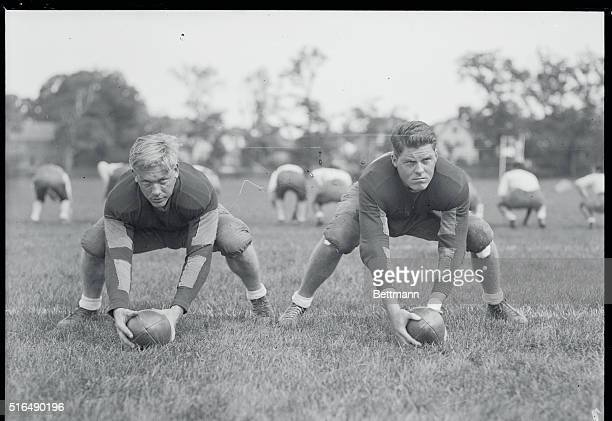 Brown University Gridders Practice Dean Coffin of Detroit Mich and FJ Gilbane of Providence RI centers on the Brown University football team are seen...