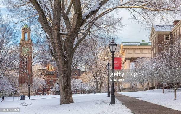 Brown University in snow