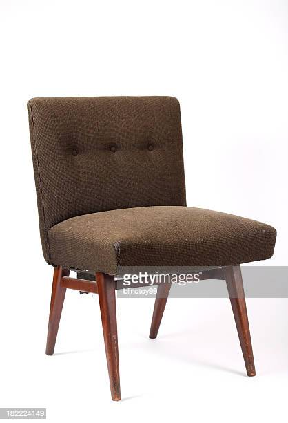 brown vintage chair on white background - chair stock pictures, royalty-free photos & images