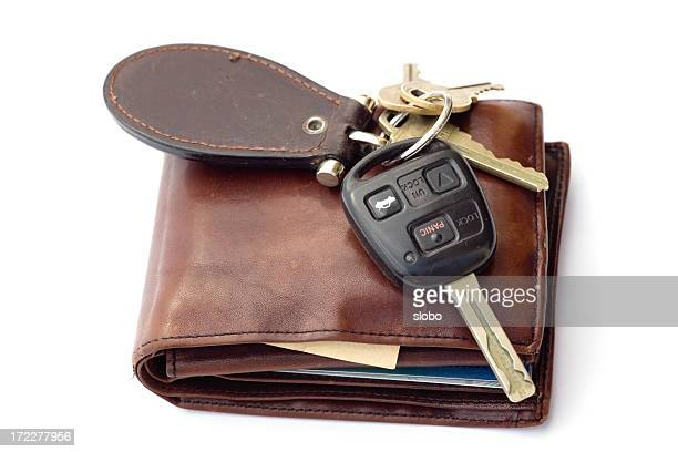 Brown Wallet and  Assorted Keys