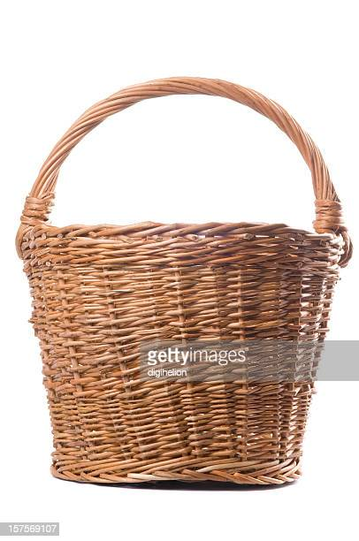 brown wicker basket on white background - basket stock photos and pictures