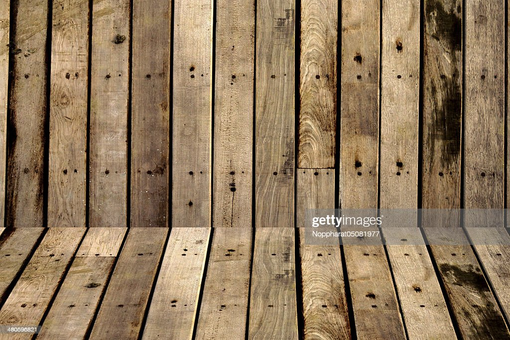 Brown wood plank wall texture background : Stock Photo