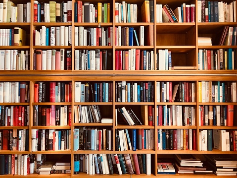 Brown wooden shelfs fully packed with books in a library 900301626
