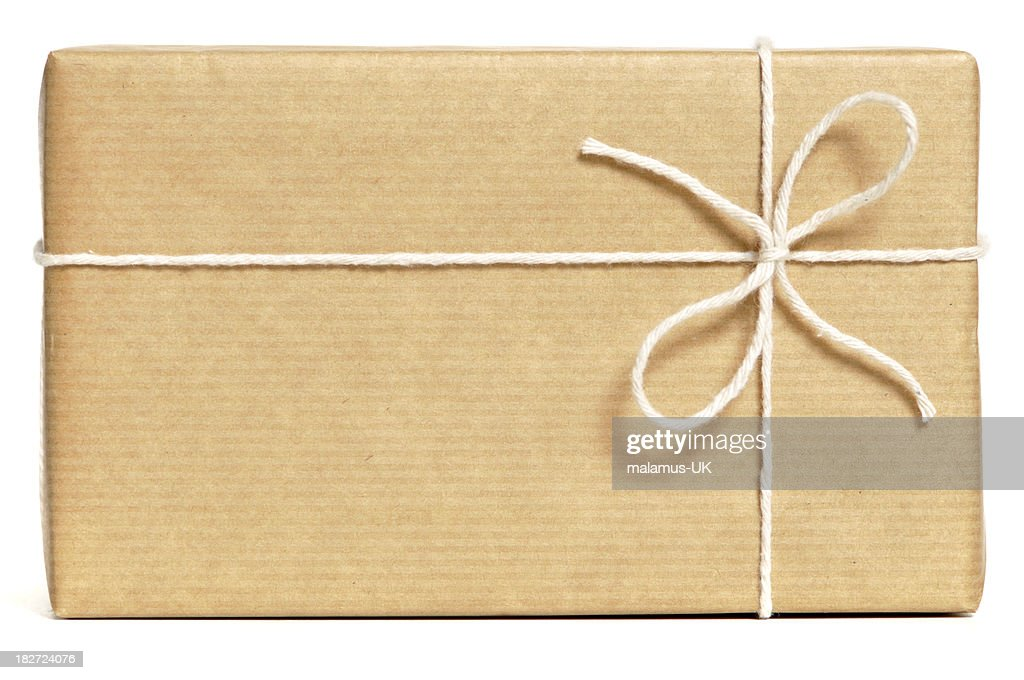 Brown wrapped parcel : Stock Photo