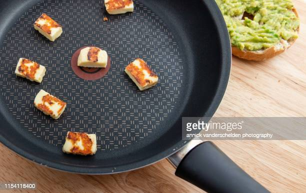 browned halloumi cheese - cyprus island stock pictures, royalty-free photos & images