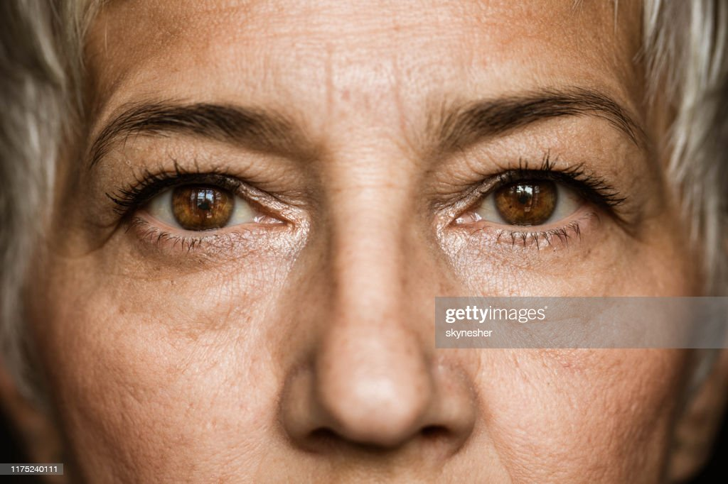 Brown-eyed senior woman. : Stock Photo