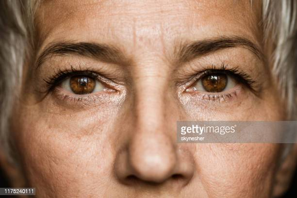 brown-eyed senior woman. - close up stock pictures, royalty-free photos & images
