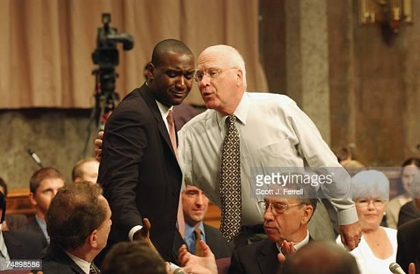 BROWNFrank Brown legislative counsel for Sen Arlen Specter RPa bottom left is bade farewell by Sen Patrick J Leahy DVt and Sen Charles E Grassley...