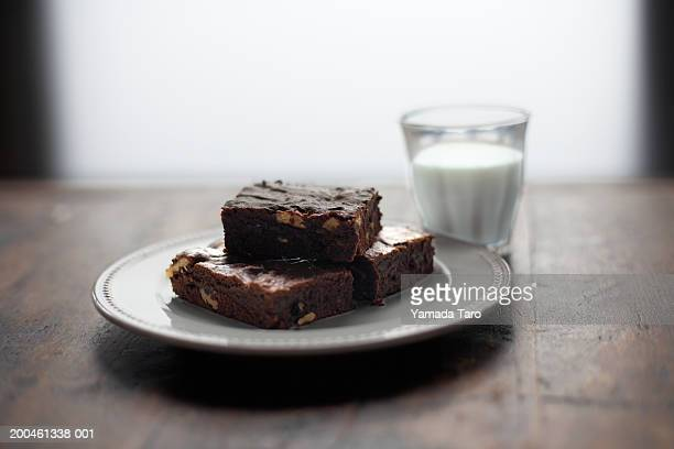 Brownies and glass of milk