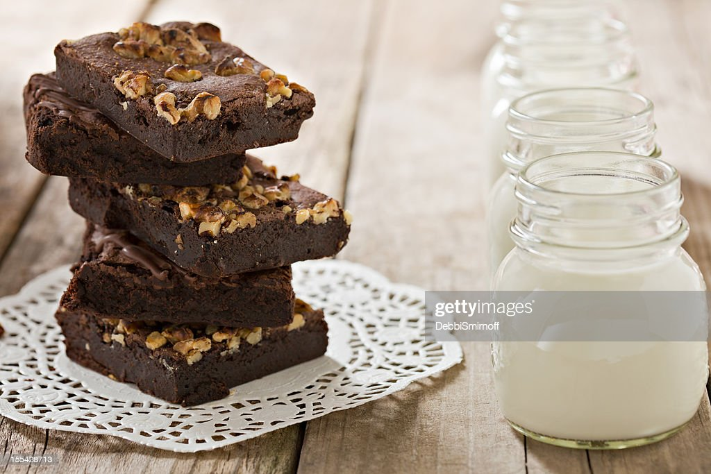 Brownies And Milk : Stock Photo