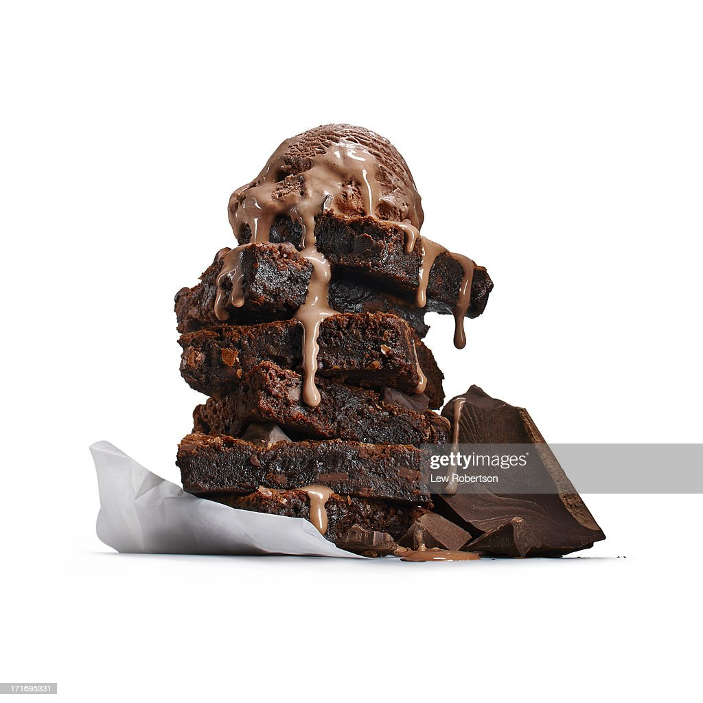 Brownies with ice cream : Stock Photo