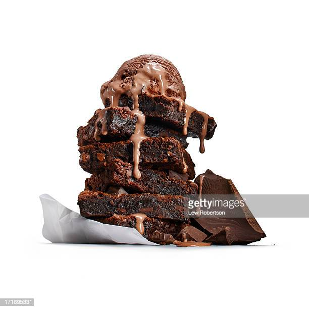 brownies with ice cream - brownie stock pictures, royalty-free photos & images