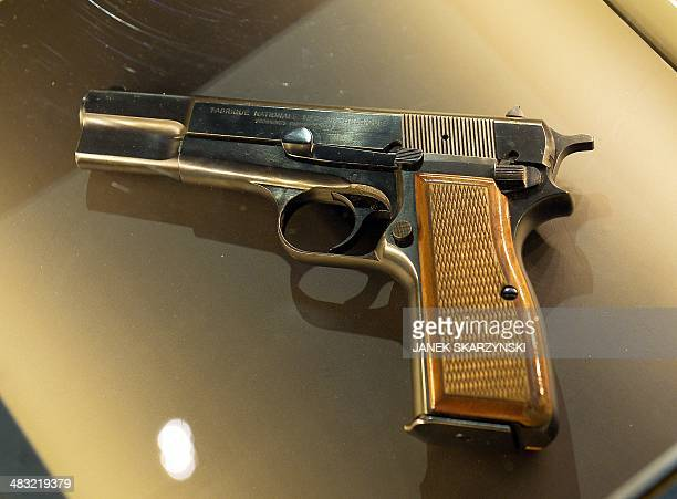 A Browning HP 9mm pistol used by Ali Agca for the assassination attempt on May 13 1981 is on display at the historic house museum of the Holy Father...