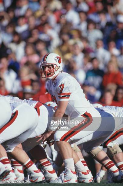 Browning Nagle, Quarterback for the University of Louisville Cardinals calls the play on the line of scrimmage against the University of Alabama...