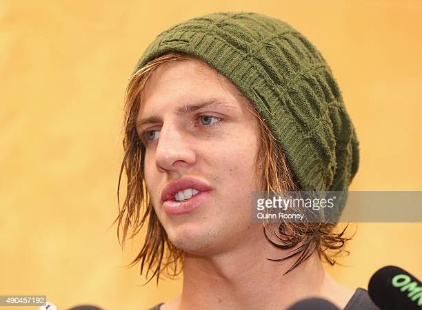 Brownlow Medal winner Nat Fyfe of the Dockers talks to the media during a media opportunity at Crown Entertainment Complex on September 29 2015 in...