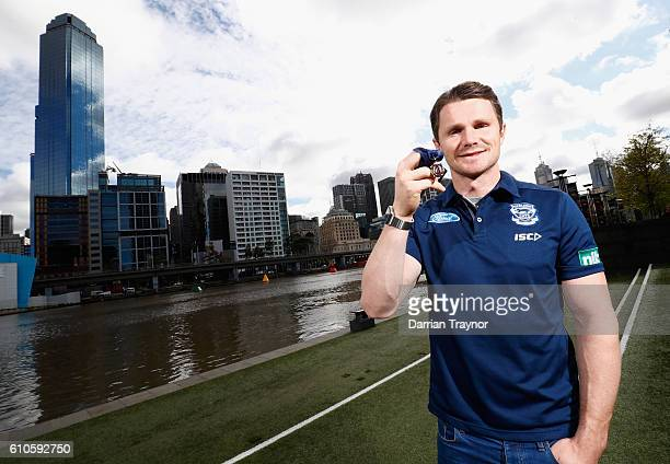 Brownlow Medal winner Patrick Dangerfield of the Geelong Cats poses at Crown Entertainment Complex on September 27, 2016 in Melbourne, Australia.