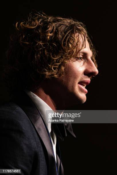 Brownlow winner Nat Fyfe of the Dockers speaks during a press conference during the 2019 Brownlow Medal at Crown Palladium on September 23 2019 in...