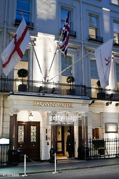 browns hotel - london - doorman stock photos and pictures
