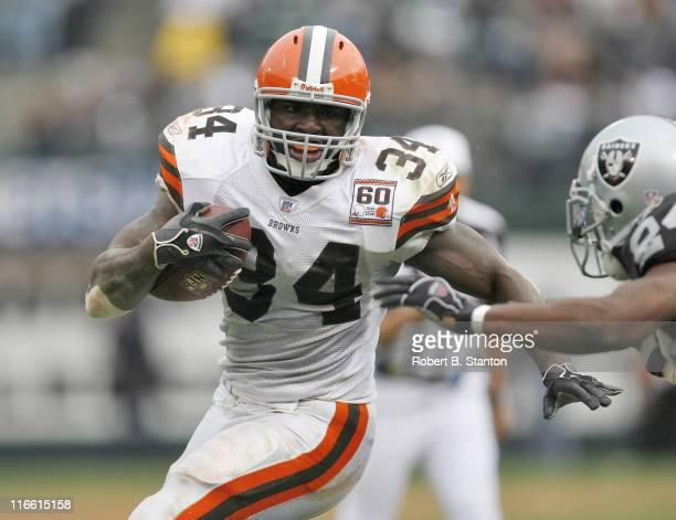 Browns runningback Reuben Droughns rushed for 100 yards as the Cleveland Browns defeated the Oakland Raiders by a score of 24 to 21 at McAfee...