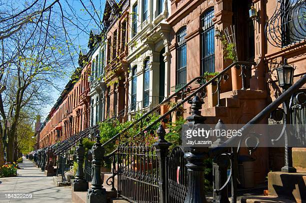 Brownstone row houses, Park Slope, Brooklyn, New York City
