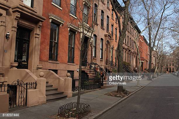 Brownstone townhouses on Garden Place in historic Brooklyn Heights