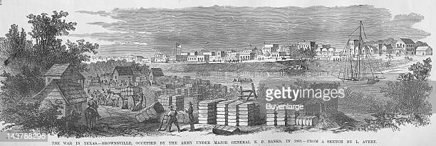 Brownsville, Texas occupied by General Banks, Brownsville, Texas, 1863. From an issue of Frank Leslie's Illustrated Almanac.
