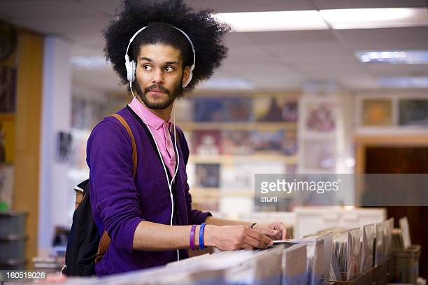 browsing the  record shop