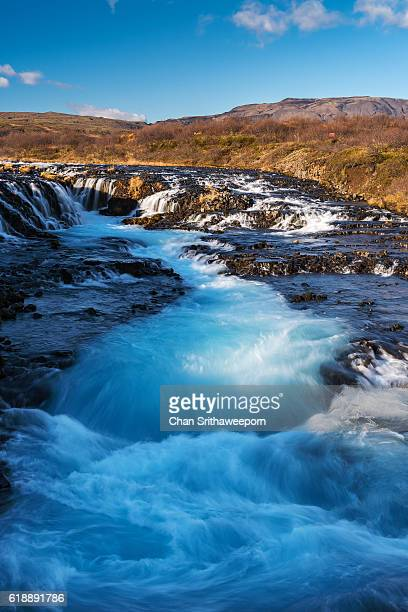 bruarfoss waterfall , iceland - westfjords iceland stock photos and pictures