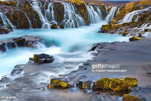 bruarfoss waterfall in autumn - thingvellir stock photos and pictures