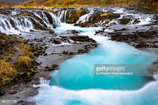 bruarfoss waterfall in autumn - pingvellir national park stock photos and pictures