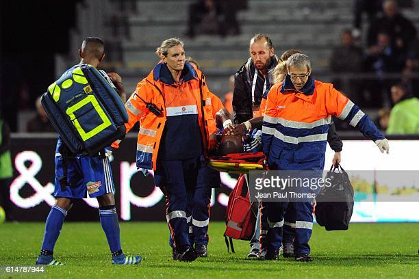Bruce ABDOULAYE of Bourg en Bresse is injured during the Ligue 2 match between Bourg en Bresse and Amiens SC at Stade MarcelVerchere on October 14...