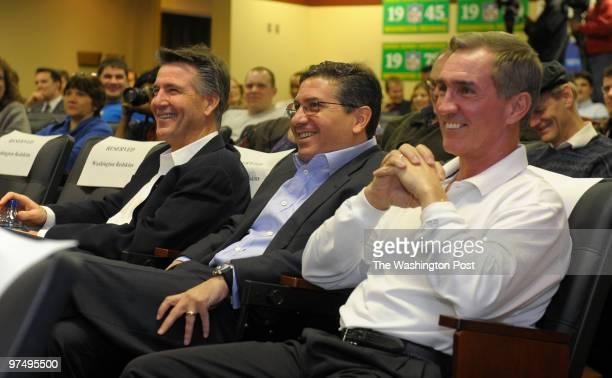 Bruce Allen Redskins Executive Vice President/General Manager Redskins Owner Daniel Snyder and Redskins Head Coach Mike Shanahan listen to Chris...