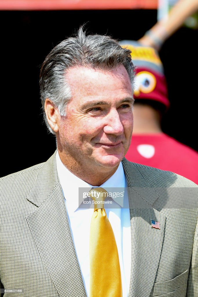 Bruce Allen, team president of the Washington Redskins comes on to the field on September 10, 2017, at FedEx Field in Landover, MD.