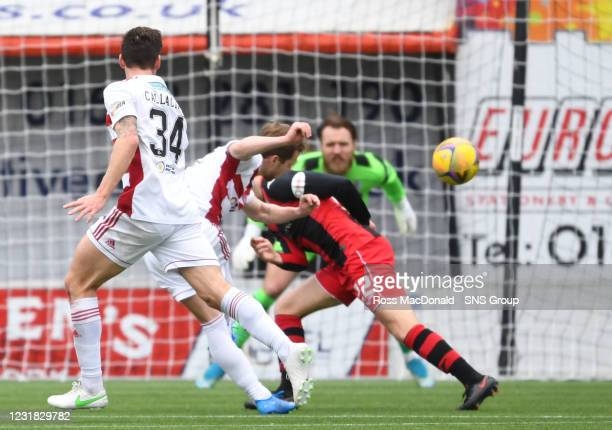 Bruce Anderson misses a chance to equalise for Hamilton during the Scottish Premiership match between Hamilton and St Mirren at the FOYS Stadium on...
