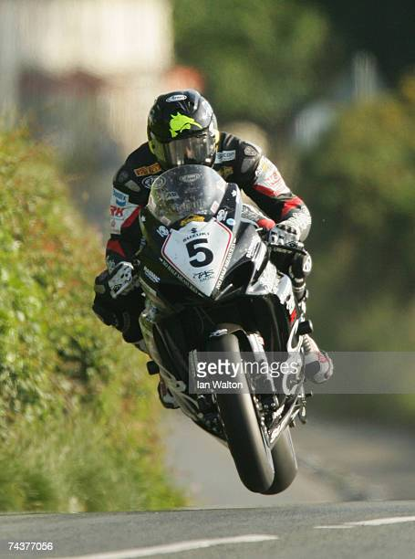 Bruce Anstey exits Kirk Michael during practice of the Isle of Man TT Races June 1 2007 in Kirk Michael in Isle of Man United Kingdom