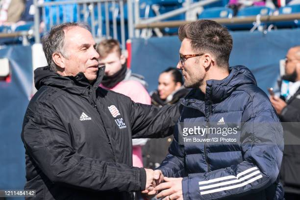 Bruce Arena and Raphael Wicky before the game during a game between Chicago Fire and New England Revolution at Gillette Stadium on March 7 2020 in...