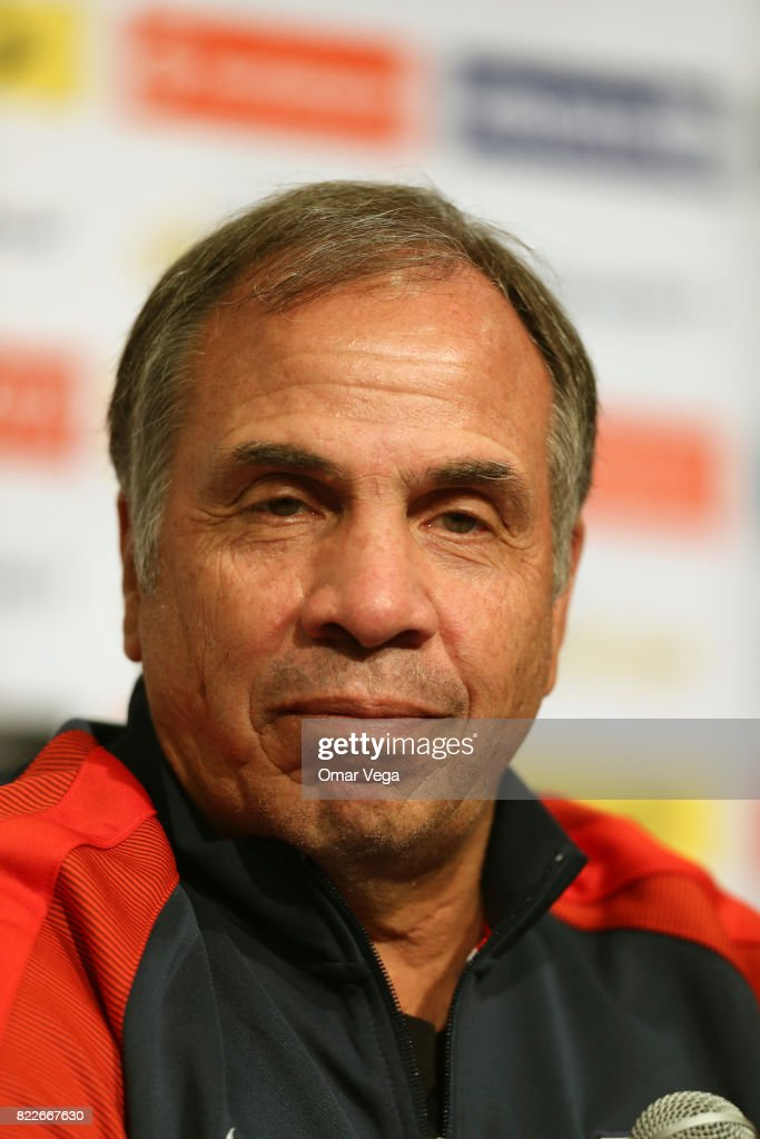 Bruce Arena coach of the USA looks on during the United States National Team press conference prior to the final match against Jamaica at Levi's Stadium on July 25, 2017 in Santa Clara, California.
