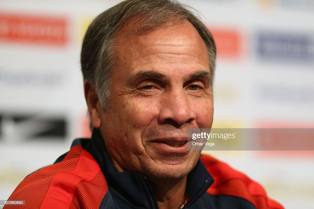 Bruce Arena coach of the USA smiles during the United States National Team press conference prior to the final match against Jamaica at Levi's Stadium on July 25, 2017 in Santa Clara, California.