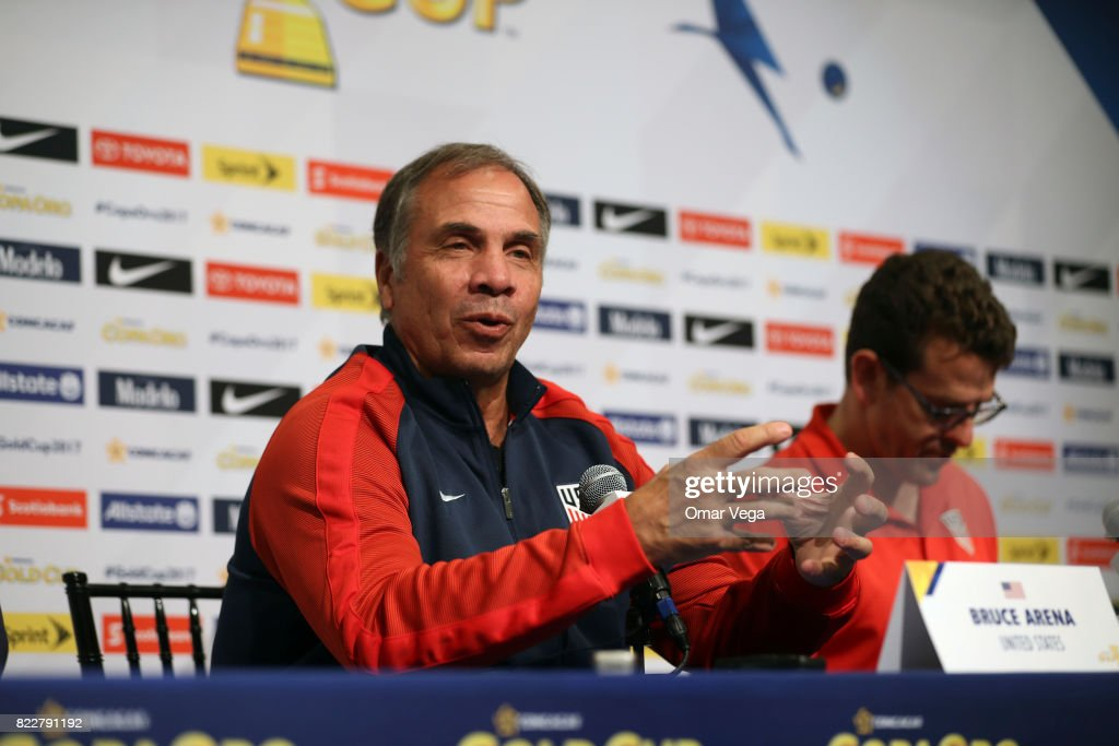 Bruce Arena coach of the USA speaks during the United States National Team press conference prior to the final match against Jamaica at Levi's Stadium on July 25, 2017 in Santa Clara, California.