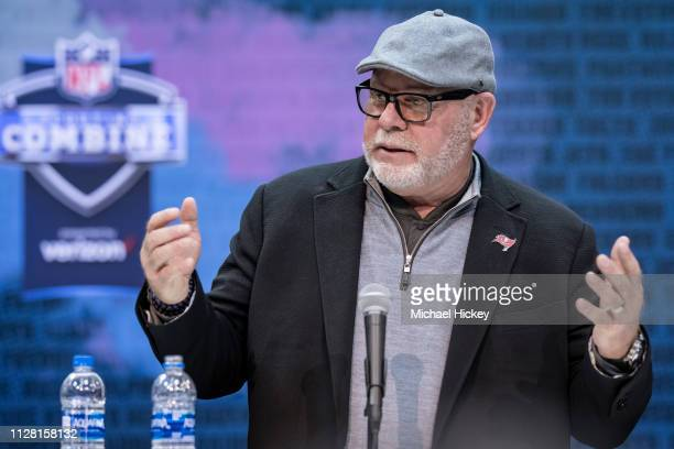 Bruce Arians head coach of the Tampa Bay Buccaneers is seen at the 2019 NFL Combine at Lucas Oil Stadium on February 28 2019 in Indianapolis Indiana