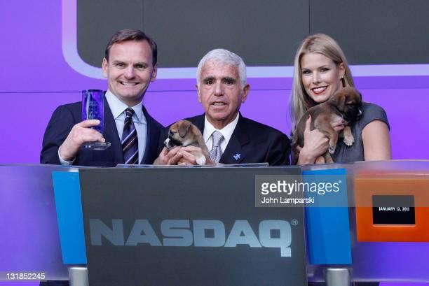 Bruce Aust Mel Karmazin and Beth Stern ring the NASDAQ closing bell at NASDAQ on January 12 2011 in New York City