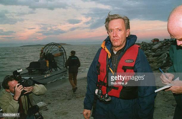 Bruce Babbit US Secretary of the Interior tours the Salton Sea December 18 1997 in Southern California