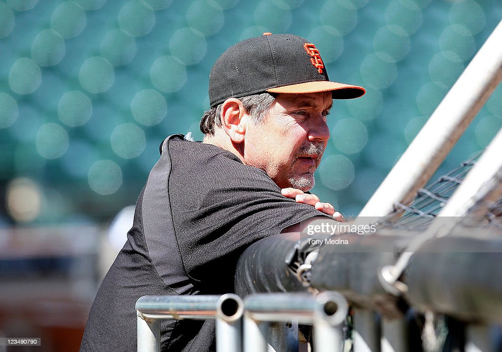 Bruce Bochy #16 of the San Francisco Giants watches batting practice before the game against the Arizona Diamondbacks at AT&T Park on September 3, 2011 in San Francisco, California.